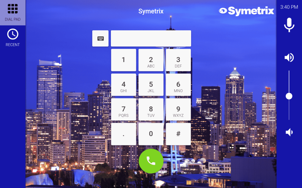 Mira Connect screen with Symetrix logo