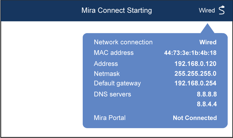 Wired network connection status