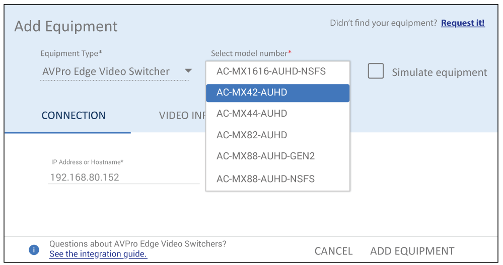 Selecting AVPro video switcher in Mira Portal